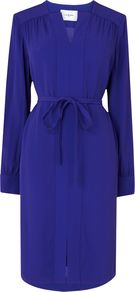 Brindi Belted Shirt Dress, Blue - style: shirt; neckline: v-neck; pattern: plain; waist detail: belted waist/tie at waist/drawstring; predominant colour: royal blue; occasions: casual, evening, occasion; length: on the knee; fit: body skimming; fibres: viscose/rayon - 100%; sleeve length: long sleeve; sleeve style: standard; pattern type: fabric; texture group: other - light to midweight; season: s/s 2014; trends: zesty shades