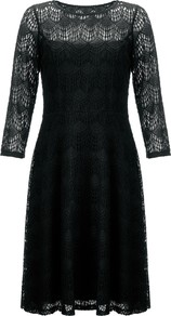 Deco Lace Dress, Black - neckline: high neck; predominant colour: black; length: just above the knee; fit: fitted at waist & bust; style: fit & flare; fibres: cotton - mix; occasions: occasion; sleeve length: 3/4 length; sleeve style: standard; texture group: lace; pattern type: fabric; pattern: patterned/print; embellishment: lace; trends: lace; season: s/s 2014