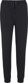 Black Satin And Jersey Jogging Trousers - pattern: plain; style: tracksuit pants; waist detail: belted waist/tie at waist/drawstring; waist: mid/regular rise; predominant colour: black; occasions: casual, creative work; length: ankle length; fibres: cotton - 100%; fit: tapered; pattern type: fabric; texture group: jersey - stretchy/drapey; season: a/w 2014