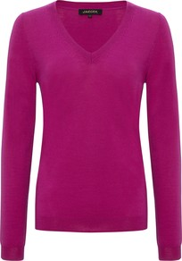 Gostwyck V Neck Jumper - neckline: low v-neck; pattern: plain; style: standard; predominant colour: magenta; occasions: casual, creative work; length: standard; fit: standard fit; sleeve length: long sleeve; sleeve style: standard; texture group: knits/crochet; pattern type: knitted - fine stitch; season: a/w 2014