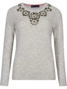 Pure Cashmere Jewel Embellished Jumper - neckline: round neck; pattern: plain; style: standard; predominant colour: light grey; occasions: casual, creative work; length: standard; fit: slim fit; fibres: cashmere - 100%; sleeve length: long sleeve; sleeve style: standard; texture group: knits/crochet; pattern type: knitted - other; embellishment: jewels/stone; trends: statement knits, artesanal details; season: a/w 2014; embellishment location: bust, shoulder