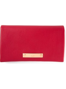 Fold Over Clutch - predominant colour: true red; occasions: evening, occasion; style: clutch; length: hand carry; size: standard; material: leather; pattern: plain; finish: plain; trends: zesty shades; season: a/w 2014