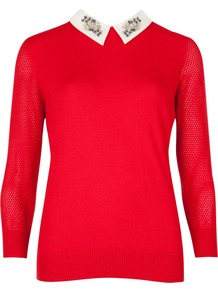 Embellished Collar Jumper - style: standard; predominant colour: true red; occasions: casual, evening, work, creative work; length: standard; fibres: cotton - mix; fit: standard fit; neckline: no opening/shirt collar/peter pan; sleeve length: 3/4 length; sleeve style: standard; texture group: knits/crochet; pattern: colourblock; embellishment: jewels/stone; trends: artesanal details; season: a/w 2014