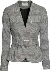 Blazer - pattern: checked/gingham; style: single breasted blazer; collar: round collar/collarless; secondary colour: mid grey; predominant colour: light grey; occasions: work, creative work; length: standard; fit: tailored/fitted; fibres: polyester/polyamide - mix; waist detail: belted waist/tie at waist/drawstring; sleeve length: long sleeve; sleeve style: standard; collar break: medium; pattern type: fabric; texture group: woven light midweight; season: a/w 2014; pattern size: big & busy (top); wardrobe: highlight