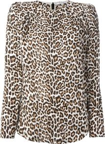 Wrinkled Leopard Print Blouse - style: blouse; secondary colour: chocolate brown; predominant colour: camel; occasions: casual, creative work; length: standard; fibres: viscose/rayon - 100%; fit: body skimming; neckline: crew; sleeve length: long sleeve; sleeve style: standard; pattern type: fabric; pattern: animal print; texture group: other - light to midweight; season: a/w 2014; pattern size: big & busy (top)