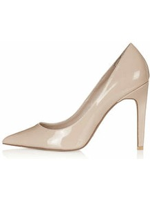 Gemini Patent Court Shoes - predominant colour: nude; occasions: work, occasion, creative work; material: faux leather; heel: stiletto; toe: pointed toe; style: courts; finish: patent; pattern: plain; heel height: very high; season: a/w 2014
