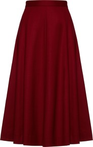Flare Flannel Skirt, Winter Berry - length: below the knee; pattern: plain; style: full/prom skirt; fit: loose/voluminous; waist: high rise; predominant colour: burgundy; occasions: casual, creative work; fibres: wool - stretch; hip detail: soft pleats at hip/draping at hip/flared at hip; waist detail: narrow waistband; pattern type: fabric; texture group: woven light midweight; trends: zesty shades; season: a/w 2014