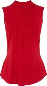 Jersey Shirt, Red - pattern: plain; sleeve style: sleeveless; style: shirt; bust detail: ruching/gathering/draping/layers/pintuck pleats at bust; occasions: casual; length: standard; neckline: collarstand; fibres: viscose/rayon - stretch; fit: body skimming; sleeve length: sleeveless; texture group: jersey - stretchy/drapey; predominant colour: raspberry; season: a/w 2014