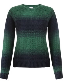 Fluffy Ombre Jumper - pattern: striped; style: standard; predominant colour: dark green; occasions: casual, creative work; length: standard; fibres: wool - mix; fit: standard fit; neckline: crew; sleeve length: long sleeve; sleeve style: standard; texture group: knits/crochet; pattern type: knitted - fine stitch; season: a/w 2014