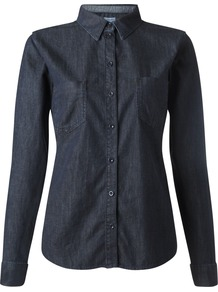 Dark Wash Denim Shirt, Indigo - neckline: shirt collar/peter pan/zip with opening; pattern: plain; style: shirt; predominant colour: navy; occasions: casual, creative work; length: standard; fibres: cotton - 100%; fit: body skimming; sleeve length: long sleeve; sleeve style: standard; texture group: denim; pattern type: fabric; season: a/w 2014