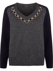 V Neck Embellished Jumper, Graphite - neckline: v-neck; style: standard; predominant colour: charcoal; secondary colour: black; occasions: casual, creative work; length: standard; fibres: wool - mix; fit: standard fit; sleeve length: long sleeve; sleeve style: standard; texture group: knits/crochet; pattern type: knitted - fine stitch; pattern: colourblock; embellishment: jewels/stone; season: a/w 2014