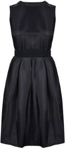 Robe Gazar Dress - pattern: plain; sleeve style: sleeveless; back detail: back revealing; predominant colour: black; occasions: evening, occasion; length: just above the knee; fit: fitted at waist & bust; style: fit & flare; fibres: polyester/polyamide - mix; neckline: crew; hip detail: adds bulk at the hips; sleeve length: sleeveless; texture group: structured shiny - satin/tafetta/silk etc.; pattern type: fabric; season: a/w 2014