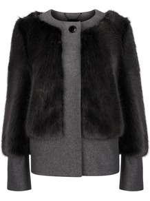 Farika Faux Fur Coat, Grey - pattern: plain; length: standard; collar: round collar/collarless; style: single breasted; sleeve style: leg o mutton; predominant colour: charcoal; secondary colour: mid grey; occasions: casual, evening, creative work; fit: straight cut (boxy); fibres: wool - mix; sleeve length: long sleeve; texture group: fur; collar break: high; pattern type: fabric; embellishment: fur; trends: outerwear chic, faux fur; season: a/w 2014; embellishment location: bust