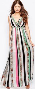 Jungle Fever Surprise Maxi Dress In Mixed Animal Print Pink - neckline: low v-neck; sleeve style: standard vest straps/shoulder straps; fit: empire; style: maxi dress; predominant colour: ivory/cream; secondary colour: mint green; occasions: evening, occasion; length: floor length; fibres: polyester/polyamide - 100%; sleeve length: sleeveless; pattern type: fabric; pattern: patterned/print; texture group: other - light to midweight; multicoloured: multicoloured; season: a/w 2015; wardrobe: event