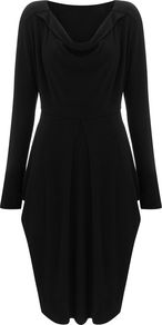 Hoxton Knitted Dress, Black - neckline: cowl/draped neck; pattern: plain; style: tulip; predominant colour: black; occasions: evening; length: on the knee; fit: fitted at waist & bust; fibres: polyester/polyamide - stretch; sleeve length: long sleeve; sleeve style: standard; pattern type: fabric; texture group: jersey - stretchy/drapey; season: s/s 2016; wardrobe: event