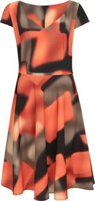 Fulham Printed Dress, Multi Coloured - sleeve style: capped; predominant colour: coral; secondary colour: taupe; occasions: evening; length: on the knee; fit: fitted at waist & bust; style: fit & flare; fibres: polyester/polyamide - stretch; neckline: crew; sleeve length: short sleeve; pattern type: fabric; pattern: patterned/print; texture group: jersey - stretchy/drapey; multicoloured: multicoloured; season: s/s 2016; wardrobe: event