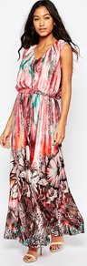 Silk Demi Maxi Dress In Oversized Flower Print Pink - neckline: v-neck; fit: loose; sleeve style: sleeveless; style: maxi dress; length: ankle length; waist detail: belted waist/tie at waist/drawstring; secondary colour: white; predominant colour: pink; occasions: evening; fibres: silk - 100%; sleeve length: sleeveless; texture group: sheer fabrics/chiffon/organza etc.; pattern type: fabric; pattern: patterned/print; multicoloured: multicoloured; season: s/s 2016; wardrobe: event