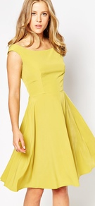 Bardot Midi Dress Chartreuse Yellow - neckline: off the shoulder; sleeve style: capped; pattern: plain; style: full skirt; predominant colour: yellow; occasions: evening; length: on the knee; fit: fitted at waist & bust; fibres: polyester/polyamide - 100%; sleeve length: short sleeve; pattern type: fabric; texture group: jersey - stretchy/drapey; season: s/s 2016; wardrobe: event
