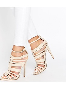 Taylor Multi Strap Peep Toe Heeled Sandals Nude - predominant colour: ivory/cream; occasions: evening, occasion; material: faux leather; heel height: high; ankle detail: ankle strap; heel: stiletto; style: strappy; finish: plain; pattern: plain; toe: caged; season: s/s 2016; wardrobe: event