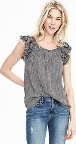 Ruffle Sleeve Keyhole Top Black - neckline: round neck; sleeve style: sleeveless; pattern: striped; length: below the bottom; shoulder detail: tiers/frills/ruffles; secondary colour: white; predominant colour: black; occasions: casual, creative work; style: top; fibres: polyester/polyamide - 100%; fit: straight cut; sleeve length: sleeveless; pattern type: fabric; pattern size: standard; texture group: other - light to midweight; season: s/s 2016; wardrobe: highlight