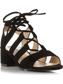 Kittyy Sm Block Heel Ghillie Lace Sandal - predominant colour: black; occasions: casual, holiday; material: suede; heel height: mid; ankle detail: ankle tie; heel: block; toe: open toe/peeptoe; style: strappy; finish: plain; pattern: plain; season: s/s 2016; wardrobe: investment