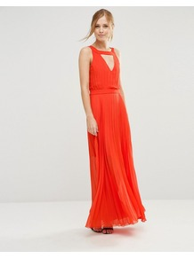 Sonoma Maxi Dress With Cut Out Back Orange - pattern: plain; sleeve style: sleeveless; style: maxi dress; predominant colour: bright orange; occasions: evening; length: floor length; fit: body skimming; neckline: peep hole neckline; fibres: polyester/polyamide - 100%; sleeve length: sleeveless; texture group: sheer fabrics/chiffon/organza etc.; pattern type: fabric; season: s/s 2016; wardrobe: event