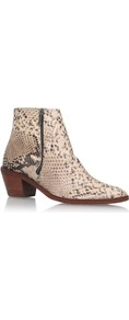 Azi - predominant colour: stone; occasions: casual, creative work; material: leather; heel height: mid; heel: block; toe: pointed toe; boot length: ankle boot; style: cowboy; finish: plain; pattern: animal print; season: s/s 2016; wardrobe: highlight