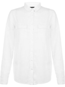 White Linen Mix Double Pocket Roll Sleeve Shirt - neckline: shirt collar/peter pan/zip with opening; pattern: plain; style: shirt; bust detail: subtle bust detail; predominant colour: ivory/cream; occasions: casual; length: standard; fibres: linen - 100%; fit: straight cut; sleeve length: long sleeve; sleeve style: standard; texture group: linen; pattern type: fabric; season: s/s 2016; wardrobe: basic