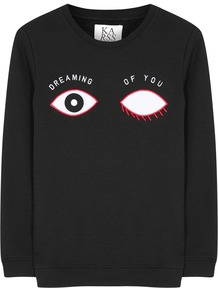 Dreaming Of You Cotton Blend Sweatshirt - style: sweat top; secondary colour: white; predominant colour: black; occasions: casual; length: standard; fibres: cotton - mix; fit: body skimming; neckline: crew; sleeve length: long sleeve; sleeve style: standard; pattern type: fabric; pattern: patterned/print; texture group: jersey - stretchy/drapey; multicoloured: multicoloured; season: s/s 2016; wardrobe: highlight