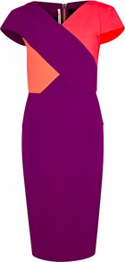Tournay Tri Tone Dress - style: shift; neckline: v-neck; sleeve style: capped; fit: tailored/fitted; hip detail: fitted at hip; predominant colour: magenta; secondary colour: coral; occasions: evening, occasion; length: on the knee; fibres: polyester/polyamide - 100%; sleeve length: short sleeve; texture group: crepes; pattern type: fabric; pattern size: standard; pattern: colourblock; season: s/s 2016