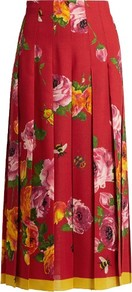 Rose Print Wool And Silk Blend Pleated Skirt - length: calf length; fit: loose/voluminous; style: pleated; waist: high rise; predominant colour: true red; secondary colour: mustard; occasions: evening, occasion, creative work; fibres: silk - 100%; texture group: silky - light; pattern type: fabric; pattern: florals; pattern size: standard (bottom); multicoloured: multicoloured; season: s/s 2016