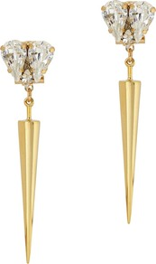 Swarovski Embellished Spike Earrings - predominant colour: gold; occasions: casual, work, creative work; style: drop; length: long; size: standard; material: chain/metal; fastening: pierced; finish: metallic; embellishment: crystals/glass; season: s/s 2016