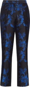 Floral Brocade Cropped Trousers - style: peg leg; pocket detail: pockets at the sides; waist: mid/regular rise; secondary colour: royal blue; predominant colour: black; occasions: evening; length: ankle length; fibres: silk - 100%; fit: tapered; pattern type: fabric; pattern: florals; texture group: brocade/jacquard; pattern size: big & busy (bottom); multicoloured: multicoloured; season: s/s 2016; wardrobe: event