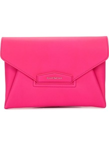 Antigona Bright Pink Leather Clutch - predominant colour: hot pink; occasions: evening, occasion; type of pattern: standard; style: clutch; length: hand carry; size: standard; material: leather; pattern: plain; finish: plain; season: s/s 2016