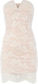 Strapless Bandeau Lace Mini Dress, Pink - length: mini; neckline: strapless (straight/sweetheart); fit: tight; sleeve style: strapless; style: bodycon; secondary colour: white; predominant colour: nude; occasions: evening; fibres: polyester/polyamide - stretch; sleeve length: sleeveless; texture group: lace; pattern type: fabric; pattern: patterned/print; season: s/s 2016; wardrobe: event
