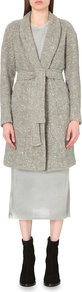 Valie Wool Blend Coat, Women's, Light Grey Ecru - collar: shawl/waterfall; length: on the knee; style: wrap around; fit: slim fit; pattern: herringbone/tweed; predominant colour: mid grey; occasions: casual, creative work; fibres: wool - mix; waist detail: belted waist/tie at waist/drawstring; sleeve length: long sleeve; sleeve style: standard; collar break: medium; pattern type: fabric; pattern size: standard; texture group: woven bulky/heavy; season: s/s 2016; wardrobe: basic