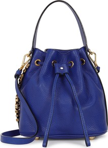 Bright Blue Leather Bucket Bag - predominant colour: royal blue; occasions: casual; type of pattern: standard; style: onion bag; length: shoulder (tucks under arm); size: standard; material: leather; pattern: plain; finish: plain; season: s/s 2016; wardrobe: highlight