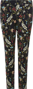 Sian Printed Trouser - length: standard; waist: mid/regular rise; secondary colour: burgundy; predominant colour: black; occasions: casual, creative work; fibres: cotton - stretch; fit: slim leg; pattern type: fabric; pattern: florals; texture group: woven light midweight; style: standard; pattern size: big & busy (bottom); multicoloured: multicoloured; season: s/s 2016