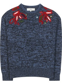 Embroidered Wool Sweater - style: standard; secondary colour: true red; predominant colour: denim; occasions: casual; length: standard; fibres: wool - 100%; fit: standard fit; neckline: crew; sleeve length: long sleeve; sleeve style: standard; texture group: knits/crochet; pattern type: knitted - fine stitch; pattern: patterned/print; embellishment: embroidered; multicoloured: multicoloured; season: s/s 2016; wardrobe: highlight