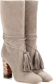 Winningham Suede Boots - predominant colour: light grey; occasions: casual; material: suede; heel height: mid; embellishment: tassels; heel: block; toe: round toe; boot length: mid calf; style: standard; finish: plain; pattern: plain; season: s/s 2016; wardrobe: basic