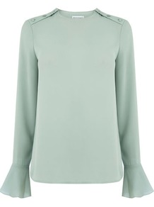 Button Shoulder Top - sleeve style: bell sleeve; pattern: plain; predominant colour: pistachio; occasions: casual; length: standard; style: top; fibres: polyester/polyamide - 100%; fit: body skimming; neckline: crew; sleeve length: long sleeve; pattern type: fabric; texture group: woven light midweight; season: s/s 2016