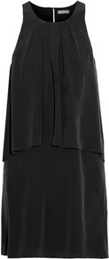 Everla Layered Washed Silk Mini Dress Black - style: shift; pattern: plain; sleeve style: sleeveless; bust detail: ruching/gathering/draping/layers/pintuck pleats at bust; predominant colour: black; occasions: evening; length: just above the knee; fit: straight cut; fibres: silk - 100%; neckline: crew; sleeve length: sleeveless; texture group: structured shiny - satin/tafetta/silk etc.; pattern type: fabric; season: s/s 2016; wardrobe: event