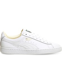 Basket Classic Leather Trainers, Women's, White White - predominant colour: white; occasions: casual; material: leather; heel height: flat; toe: round toe; style: trainers; finish: plain; pattern: plain; shoe detail: moulded soul; season: s/s 2016; wardrobe: highlight