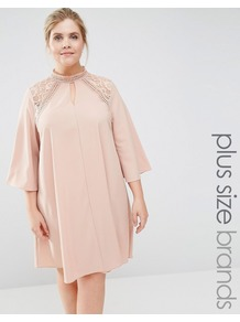 Lace Insert Swing Dress Beige - style: trapeze; length: below the knee; fit: loose; pattern: plain; neckline: high neck; predominant colour: blush; occasions: evening; fibres: polyester/polyamide - 100%; sleeve length: 3/4 length; sleeve style: standard; texture group: sheer fabrics/chiffon/organza etc.; pattern type: fabric; embellishment: lace; shoulder detail: sheer at shoulder; season: s/s 2016; wardrobe: event