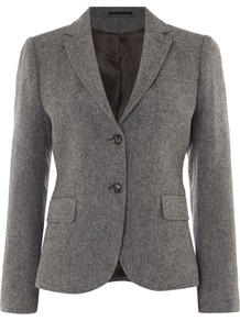 Bid Eye Wool Blazer, Dark Grey - pattern: plain; style: single breasted blazer; collar: standard lapel/rever collar; predominant colour: charcoal; occasions: work; length: standard; fit: tailored/fitted; fibres: wool - mix; sleeve length: long sleeve; sleeve style: standard; collar break: medium; pattern type: fabric; texture group: woven light midweight; season: s/s 2016; wardrobe: investment