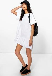 Ruffle Hem T Shirt Dress White - style: t-shirt; length: mid thigh; fit: loose; pattern: plain; predominant colour: white; occasions: casual; fibres: viscose/rayon - 100%; neckline: crew; sleeve length: short sleeve; sleeve style: standard; pattern type: fabric; texture group: jersey - stretchy/drapey; season: s/s 2016; wardrobe: highlight; embellishment: frills; embellishment location: hip
