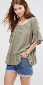Boho Top With Peplum Hem Khaki - sleeve style: bell sleeve; pattern: plain; length: below the bottom; predominant colour: khaki; occasions: casual, holiday, creative work; style: top; neckline: scoop; fibres: viscose/rayon - 100%; fit: loose; sleeve length: half sleeve; hip detail: ruffles/tiers/tie detail at hip; pattern type: fabric; texture group: jersey - stretchy/drapey; season: s/s 2016; wardrobe: highlight