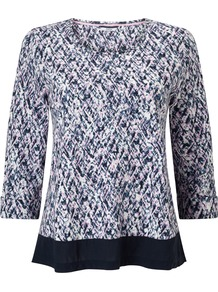 Lino Print Woven Hem Top - neckline: round neck; pattern: plain; secondary colour: ivory/cream; predominant colour: black; occasions: casual, creative work; length: standard; style: top; fibres: cotton - stretch; fit: body skimming; sleeve length: 3/4 length; sleeve style: standard; pattern type: fabric; texture group: jersey - stretchy/drapey; pattern size: big & busy (top); season: s/s 2016; wardrobe: basic