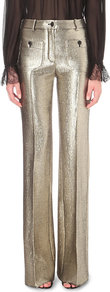 Wide Leg Metallic Jacquard Trousers, Women's, Silver - length: standard; pattern: plain; waist: mid/regular rise; predominant colour: gold; occasions: evening; fibres: wool - mix; fit: wide leg; pattern type: fabric; texture group: brocade/jacquard; style: standard; season: s/s 2016