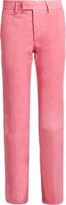 High Rise Straight Leg Leather Trousers - length: standard; pattern: plain; waist: high rise; predominant colour: pink; occasions: evening, creative work; fibres: leather - 100%; hip detail: fitted at hip (bottoms); texture group: leather; fit: straight leg; pattern type: fabric; style: standard; season: s/s 2016